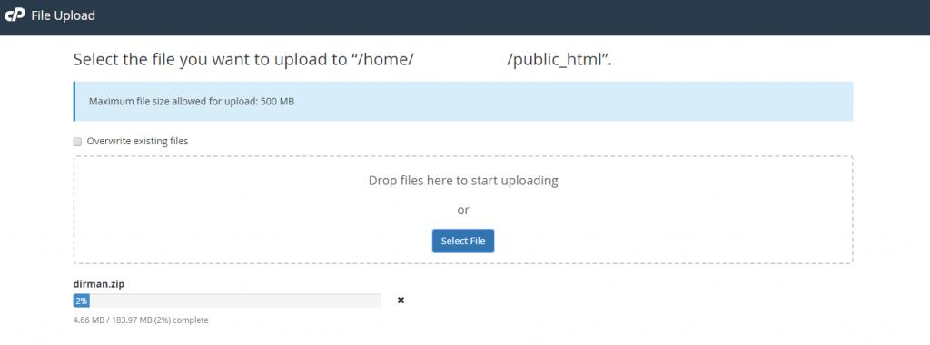 upload files menggunalan cpanel