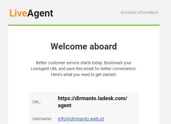Halaman Akun Personal di LiveAgent