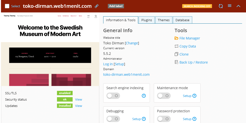 Tampilan Web Manager Website 1 Menit Jadi