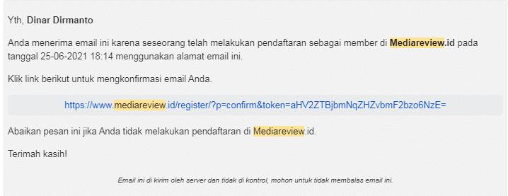Informasi Verifikasi Pendaftaran di situs promosi Mediareview.id