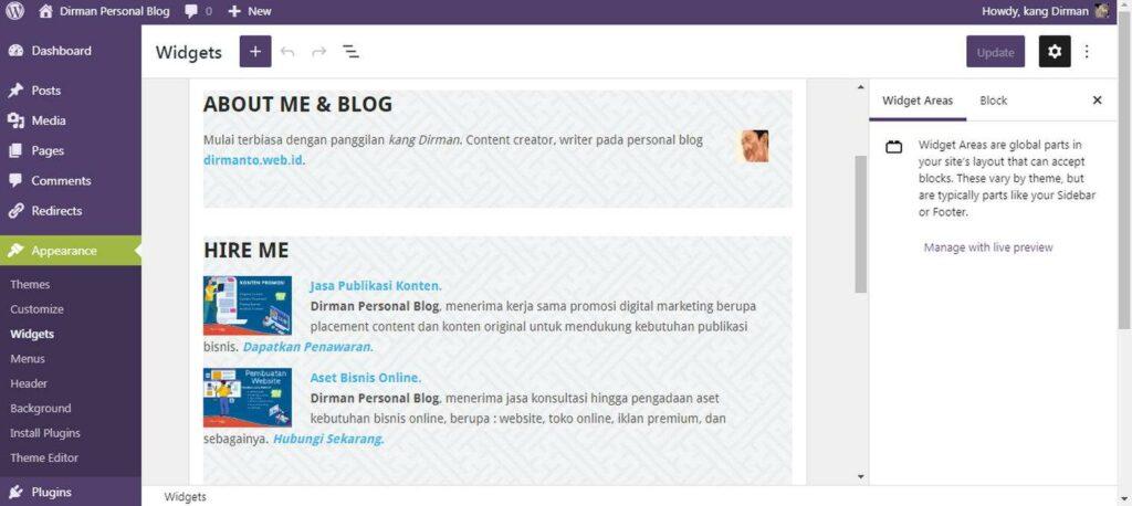 Fitur Update Widget Terbaru Pada WordPress 5-8